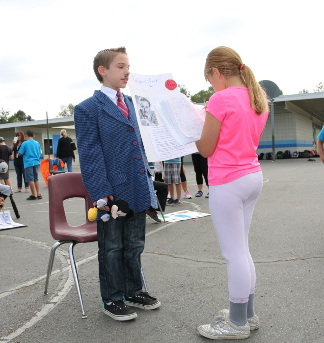 Fourth Grader Sadie DuBois meets Walt Disney (played by Noah Iverson).