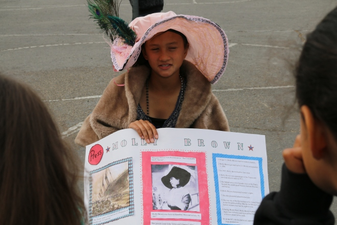 Ava Romerosa plays Molly Brown. The students created their own costumes at home.