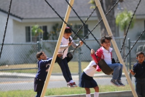 Kindergarteners enjoy separate recesses from the school's other grades.