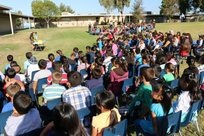 All-school assemblies were held each month to celebrate Berylwood's reading milestones. This last assembly was held on June 5.