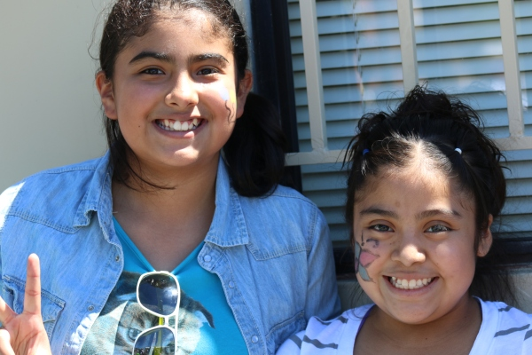 Diana Mata, (left) and Aracely Sosa, both 12 and 6th-graders at Santa Susana Elementary School enjoying their carnival day.