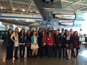 All of the students participating in the Avanti International Business Challenge stand with Simi Valley Mayor Bob Huber in front of Air Force One on Jan. 14 at the Reagan Library.