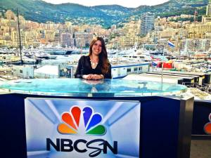 With the beautiful country of Monaco behind her, Emilie Mateu sits in the NBC studio during the Monaco Grand Prix races in 2014.