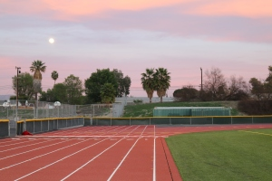 The new Royal track under the rising moon Monday night.