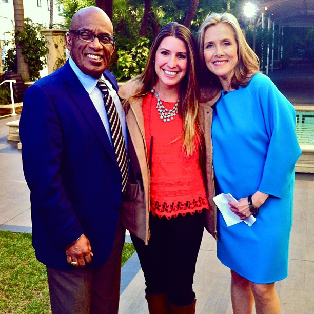 Emilie Mateu stands with Al Roker and Meredith Vieira of the Today Show. She met them both while interning at NBC during her junior year at USC.